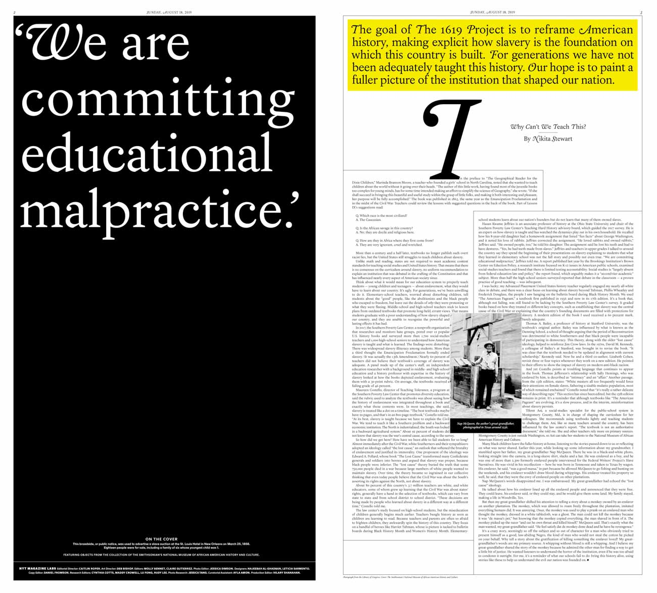 """The 1619 Project: """"We Must Tell the Unvarnished Truth"""" TDC ECV"""